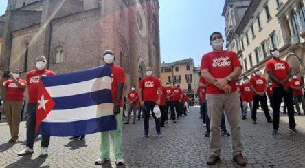 Homenaje a la brigada médica cubana Henry Reeve en Crema, Italia