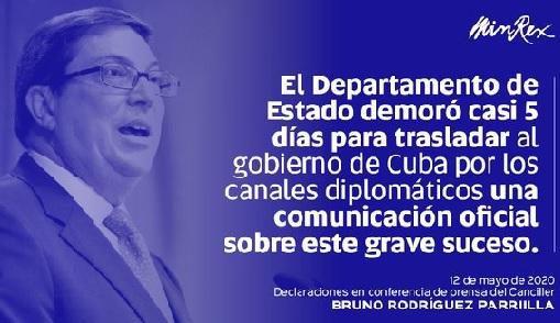 El Ministro de Relaciones Exteriores de Cuba, Bruno Rodríguez Parrilla, denuncia el silencio cómplice del Gobierno estadounidense.
