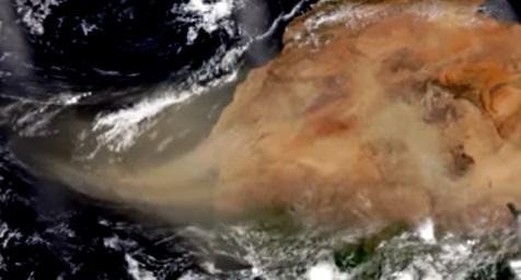 Nube de polvo del Sahara: así se ve desde el espacio