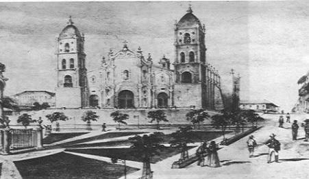Grabado histórico sobre el parque Céspedes de Santiago de Cuba