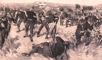 Batalla yanqui contra fuerzas españolas en la loma de San Juan, en Santiago de Cuba.