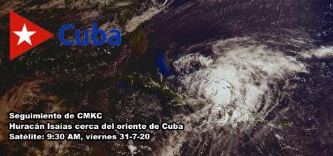 Isaías, como huracán Categoría 1, a las 9:30 AM cerca del extremo oriental de Cuba. CMKC, Radio Revolución.