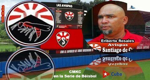 Equipo Avispas Santiago de Béisbol con Eriberto Rosales.