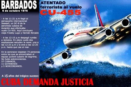 Barbado en la memoria, Cuba no olvida a sus víctimas del terrorismo y aboga por la paz y la solidaridad.