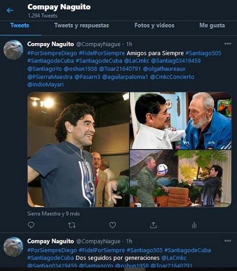 Repercusión en twitter noticia de la muerte de Diego Armando Maradona.
