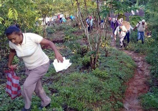 A recoger café en masiva movilización popular en el municipio Tercer Frente tras las lluvias