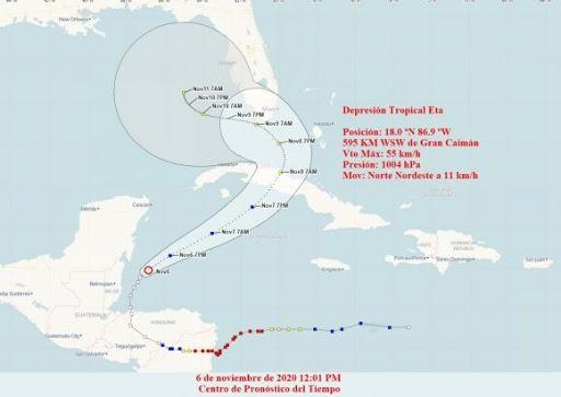 Fuertes lluvias por aproximación del ciclón tropical Eta