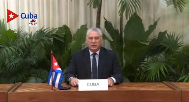 Miguel Díaz Canel en sesión virtual de la ONU sobre la covid-19