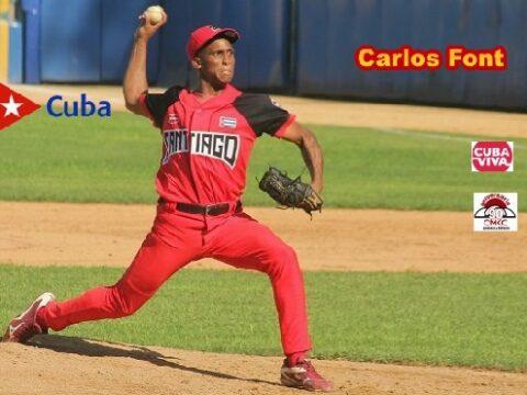 Pitcher Carlos Font, de las Avispas de Santiago de Cuba