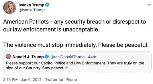 """Ivanka Trump llamó a los manifestantes """"patriotas estadounidenses"""" en Twitter y luego borró su mensaje. Lo hizo al retuitear un contenido de su padre."""