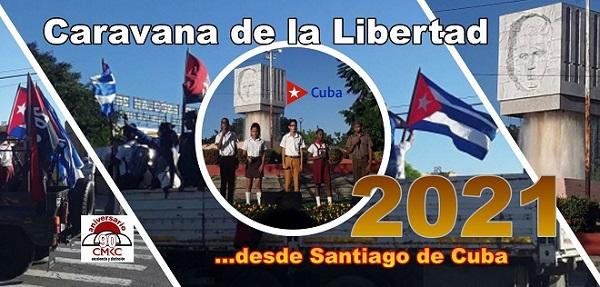 Caravana de la Libertad 2021 desde Santiago de Cuba. Imagen: Santiago Romero Chang