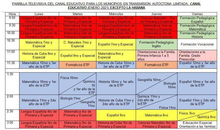 Tres canales televisivos asumirán la programación educativa a partir del miércoles, ante situación epidemiológica en Cuba
