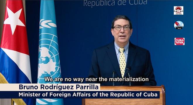 Canciller cubano Buno Rodríguez Parrilla, en intervención virtual desde la sede del MINREX eCanciller cubano Buno Rodríguez Parrilla, en intervención virtual desde la sede del MINREX en Cuba.