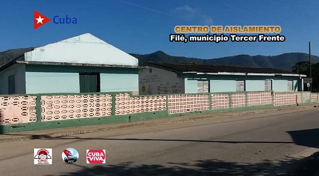 Centro de aislamiento en la zona rural de Filé, en el municipio Tercer Frente, en Santiago de Cuba.