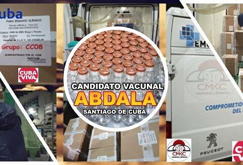 Llegada de lotes del candidato vacunal ABDALA a Encomed Santiago de Cuba. Imagen: Santiago Romero Chang