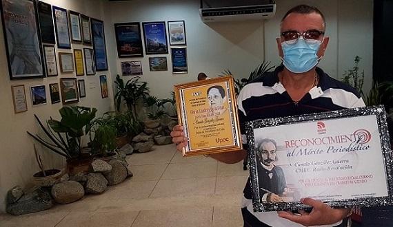 Periodista Camilo González Guerra, Premio de la Radio Gloria Cuadras In Memoriam 2021 y Alto reconocimiento por el ICRT. Foto: Santiago Romero Chang