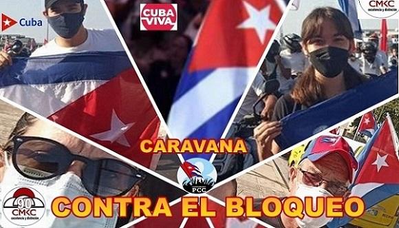 Caravana contra el bloqueo a Cuba, Imagen web: Santiago Romero Chang.