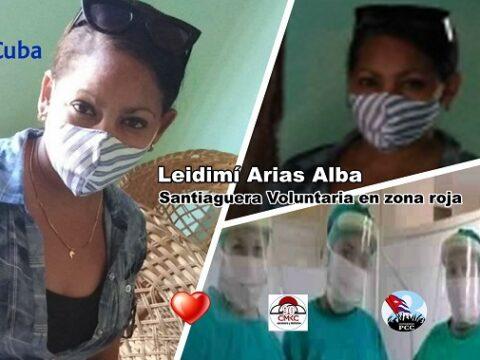 Santiaguera Leidimí Arias Alba, voluntaria en zona roja contra la pandemia de covid-19. Imagen: Edición- Santiago Romero Chang.