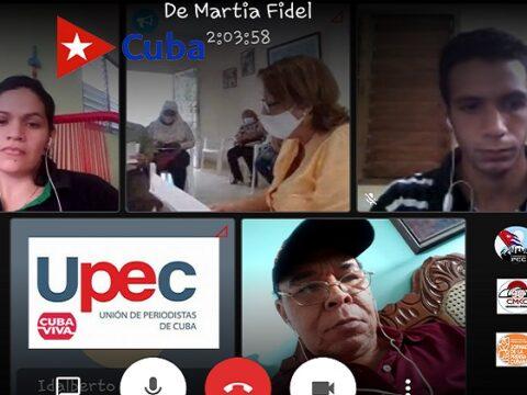Martí y Fidel como bandera, en Taller Nacional de la UPEC en Santiago de Cuba. Jornada por el Día de la Prensa Cubana.