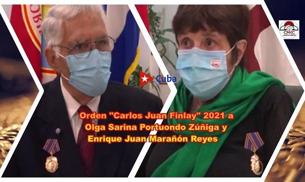 """Orden """"Carlos Juan Finlay"""" 2021 a Olga Sarina Portuondo Zúñiga y Enrique Juan Marañón Reyes. Imagen: Santiago Romero Chang"""