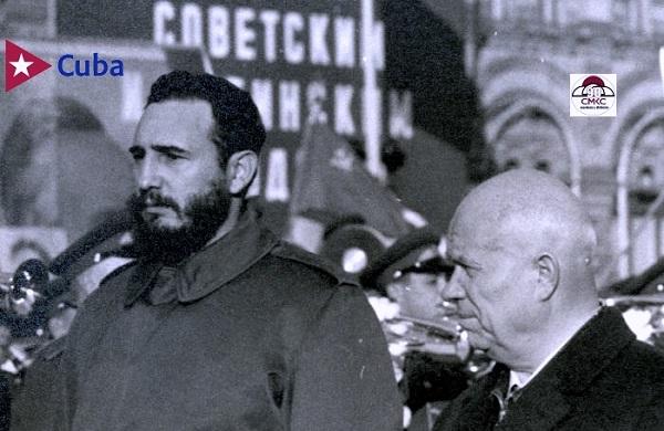 Rusia y Cuba con larga historia en los lazos de hermandad. Fidel y Krushov en Moscú, tras la victoria de la Revolución Cubana.