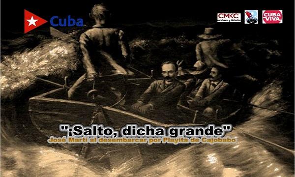 Desembarco de Martí y Gómez por Playita de Cajobabo, provincia de Guantánamo, en el oriente de Cuba.