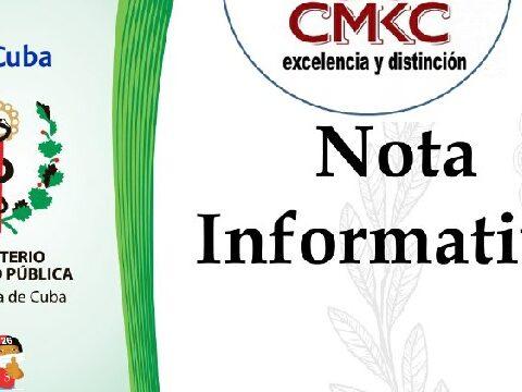 Ministerio de Salud Pública de Cuba. Nota Oficial. CMKC, Radio Revolución