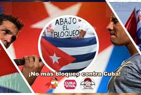 ¡No más bloqueo contra Cuba! Imagen wen: Santiago Romero Chang