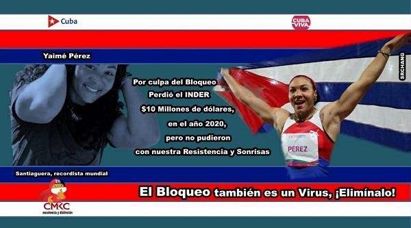 No Al Bloqueo, dice campeona santiaguera Yaimé Pérez, rcordista en lanzamiento del disco