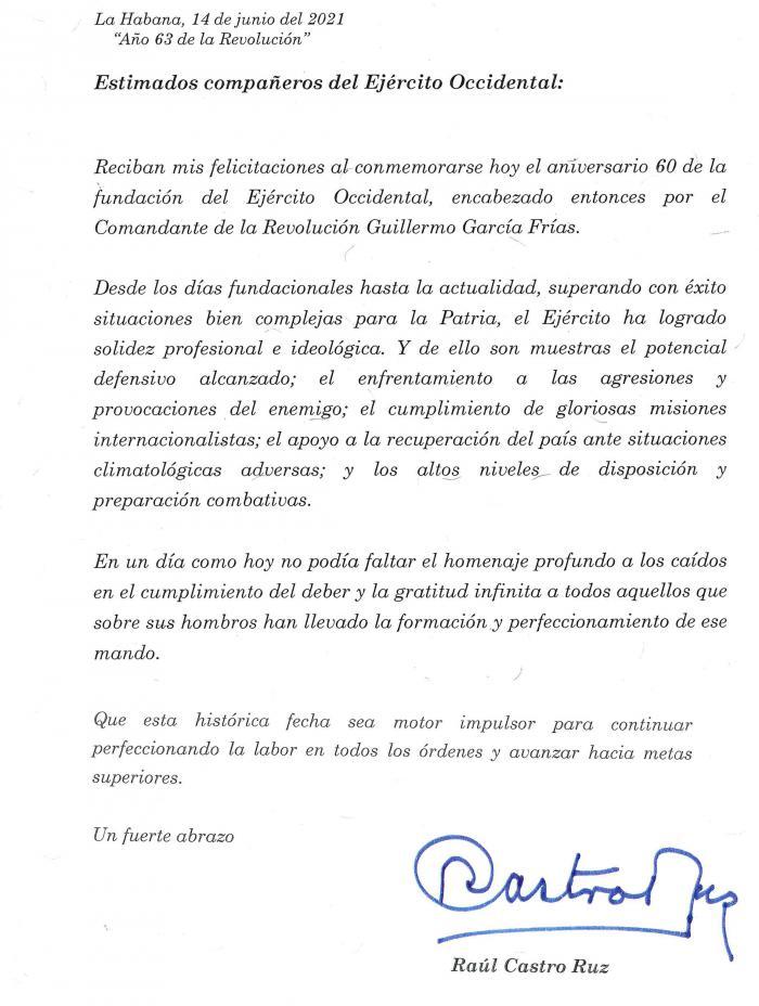Mensaje de felicitación que el General de Ejército Raúl Castro Ruz por el aniversario 60 de la fundación del Ejército Occidental