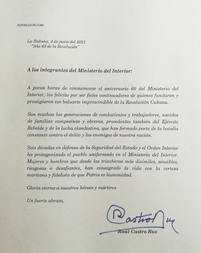 Carta de Raúl en felicitación por los 60 años del Ministerio del Interior.
