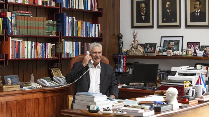 El Primer Secretario del Comité Central del Partido y presidente de la República de Cuba, Miguel Díaz-Canel Bermúdez