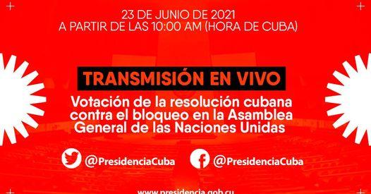 Votación contra el bloqueo a Cuba. En Vivo desde la sede de la ONU