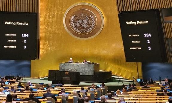 Victoria de Cuba en ONU: 184 a favor, 2 en contra y 3 abstenciones