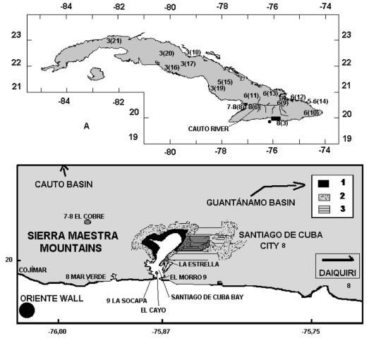 Sismo del 1 Junio 1766, 11:50 PM Hora local, Magnitud estimada 7.6, Intensidad IX en Santiago de Cuba.