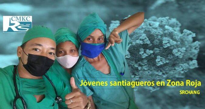 Jávenes santigueros consagrados en Zona Roja contra la COVID-19. Foto portada: Santiago Romero Chang.