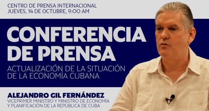 En conferencia de prensa el ministro de Economía y Planificación, Alejandro Gil Fernández